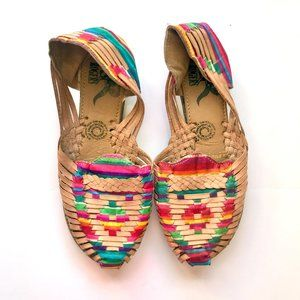Authentic Mexican Handmade Rainbow Huaraches Shoes